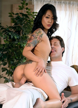 Tattooed asian whore Saya Song takes..