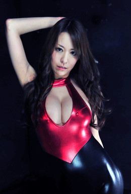 Asian beauty with big boobs and red bra